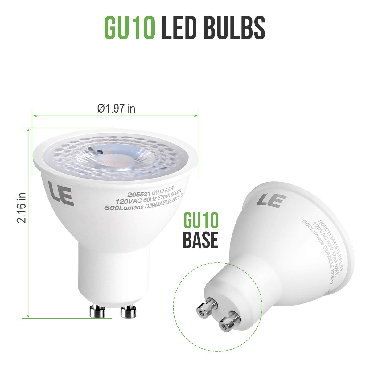 Le Mr16 Gu10 Dimmable Light Bulbs 50w Halogen Equivalent 65 Wire Inside The Bulb Called A Filament Lights 65w 500lm 38 Beam Angle Spotlight Daylight White 5000k Led Recessed Lighting