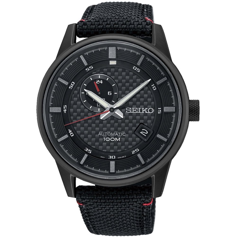 セイコーMen 's 42.4 MMブラック布バンドチタンケースHardlexクリスタル自動アナログ腕時計ssa383 K1 B07FNSFQFR
