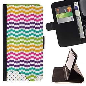 Momo Phone Case / Flip Funda de Cuero Case Cover - Dot Waves Líneas del arco iris de color - HTC One A9