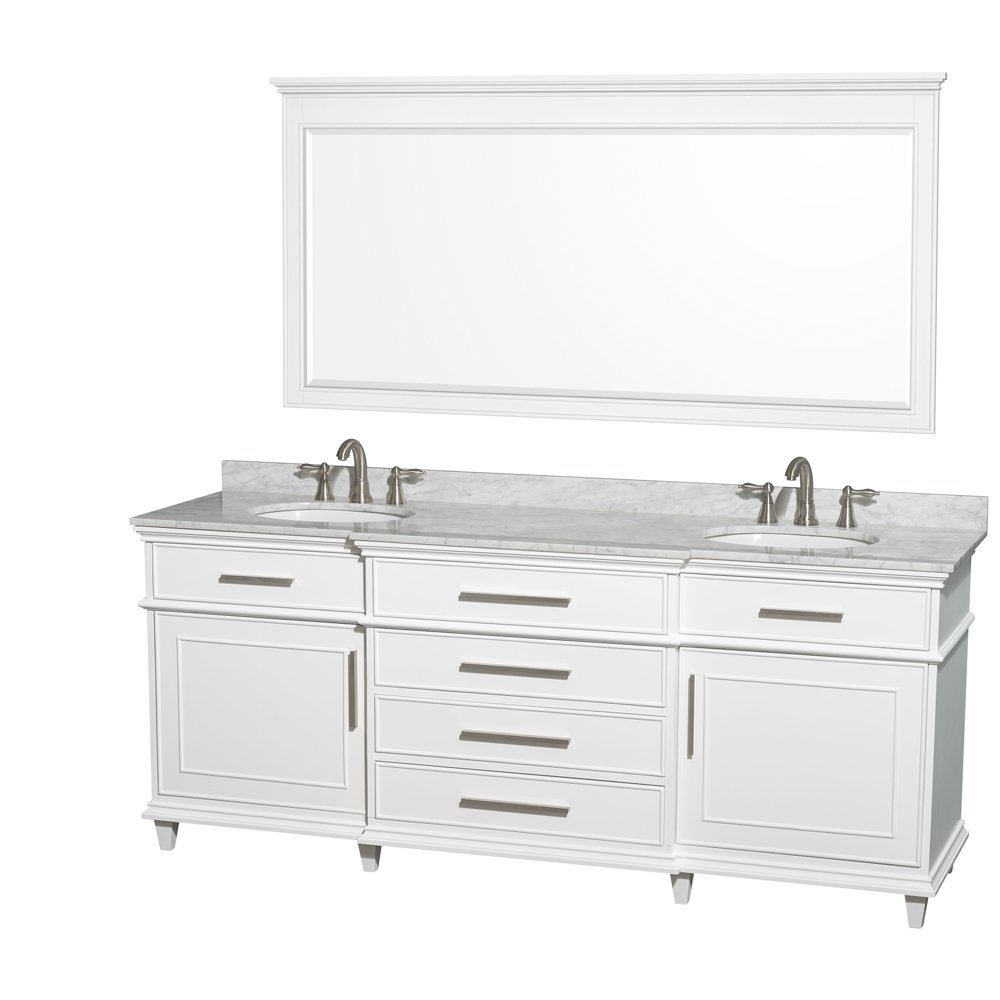 amazoncom wyndham collection berkeley 80 inch double bathroom vanity in white with white carrera marble top with white undermount oval sinks and no