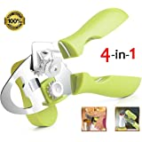 Can Opener, Manual Can Opener Smooth Edge Hand Can Opener Heavy Duty with Magnetic Hook(1 Tin Opener, 2 Spare Blades,1 Magnetic Hook)