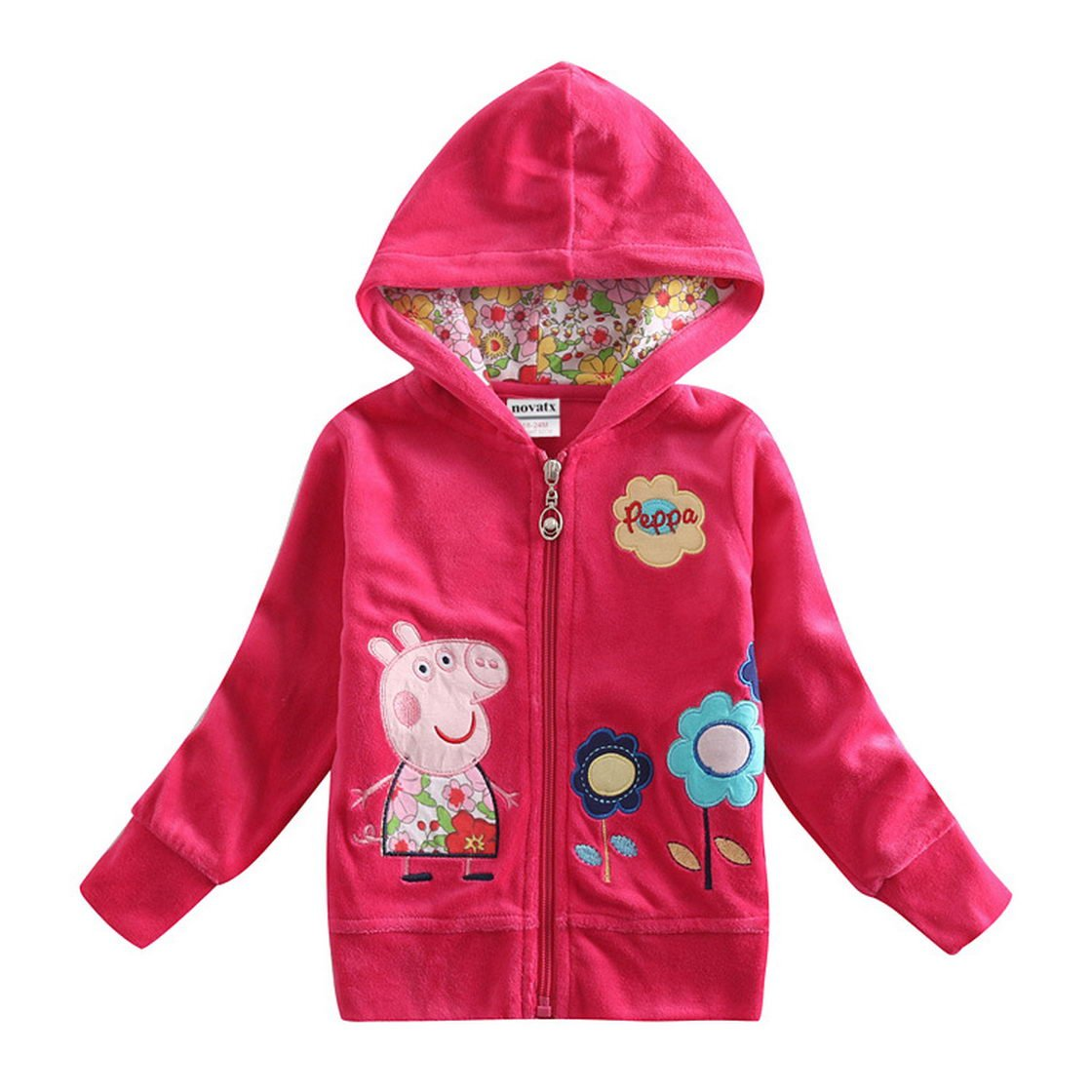 Peppa Pig Little Girls Long Sleeve Cartoon Pullover Hooded Cotton Jacket 1-6Y Tiful