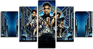 HCOZY Print Painting Canvas, 5 Pieces Black-Panther Canvas Wall Art Painting for Home Living Room Office Mordern Decoration Gift(Unframed)