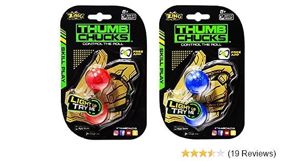 Brand New GENUINE Zing Toys Blue Light Up Thumb Chucks Control the Roll
