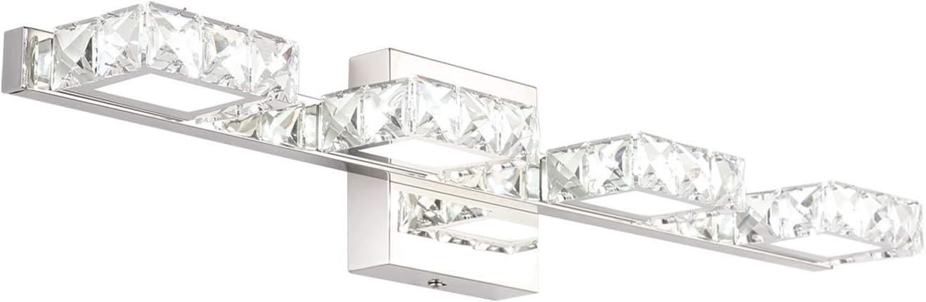 Crystal Vanity Lights Letsun Bathroom Light Over Mirror 24 Inch Led Crystal Bathroom Light Fixtures 4 Lights Chrome Bathroom Vanity Lights White Light 6500k Amazon Com