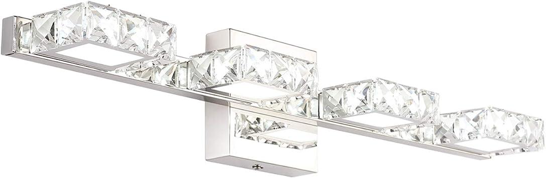 Amazon Com Crystal Vanity Lights Letsun Bathroom Light Over Mirror 24 Inch Led Crystal Bathroom Light Fixtures 4 Lights Chrome Bathroom Vanity Lights White Light 6500k Home Improvement
