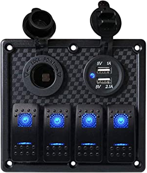 Phone Tablet 12 V 2 x Dual USB Rocker Switch Waterproof