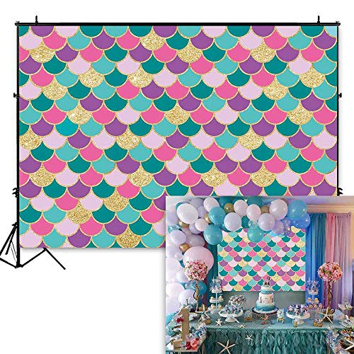 Funnytree 7x5ft Little Mermaid Purple Pink Scales Backdrop for Birthday Party Glare Glitter Princess Girl Photography Background Baby Shower Decorations Cake Table Banner Photo Booth Studio -