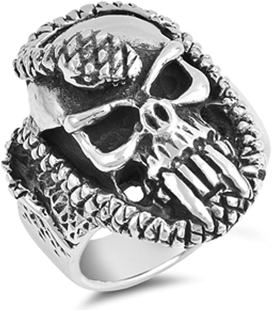 High Polish Skull Biker Chopper Ring New 316L Stainless Steel Band Sizes 9-14