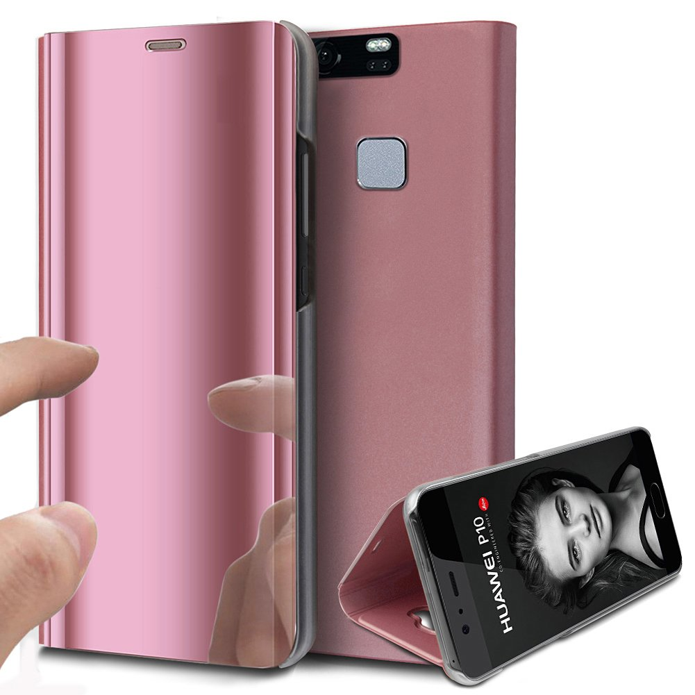 Huawei P9 Plus Case,Huawei P9 Plus Cover,ikasus Ultra-Slim Luxury Shock-Absorption Plating Mirror Makeup Case Cover PU Leather Flip Stand Kickstand Protective Case Cover for Huawei P9 Plus,Rose Gold