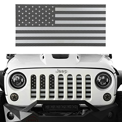 Flag Grille - u-Box Jeep Wrangler Front Grille Insert Black & White America Flag Mesh Grille Insert for 2007-2018 Jeep JK & Wrangler Unlimited