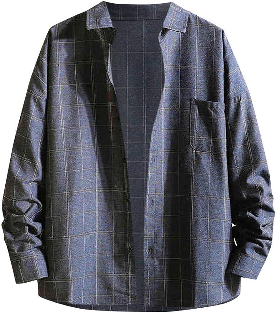 Overdose Camisas Hombre Manga Larga Tallas Grandes Caida Camisa Chaqueta Solapa Cuadros Camisa Casual Adolescente: Amazon.es: Ropa y accesorios