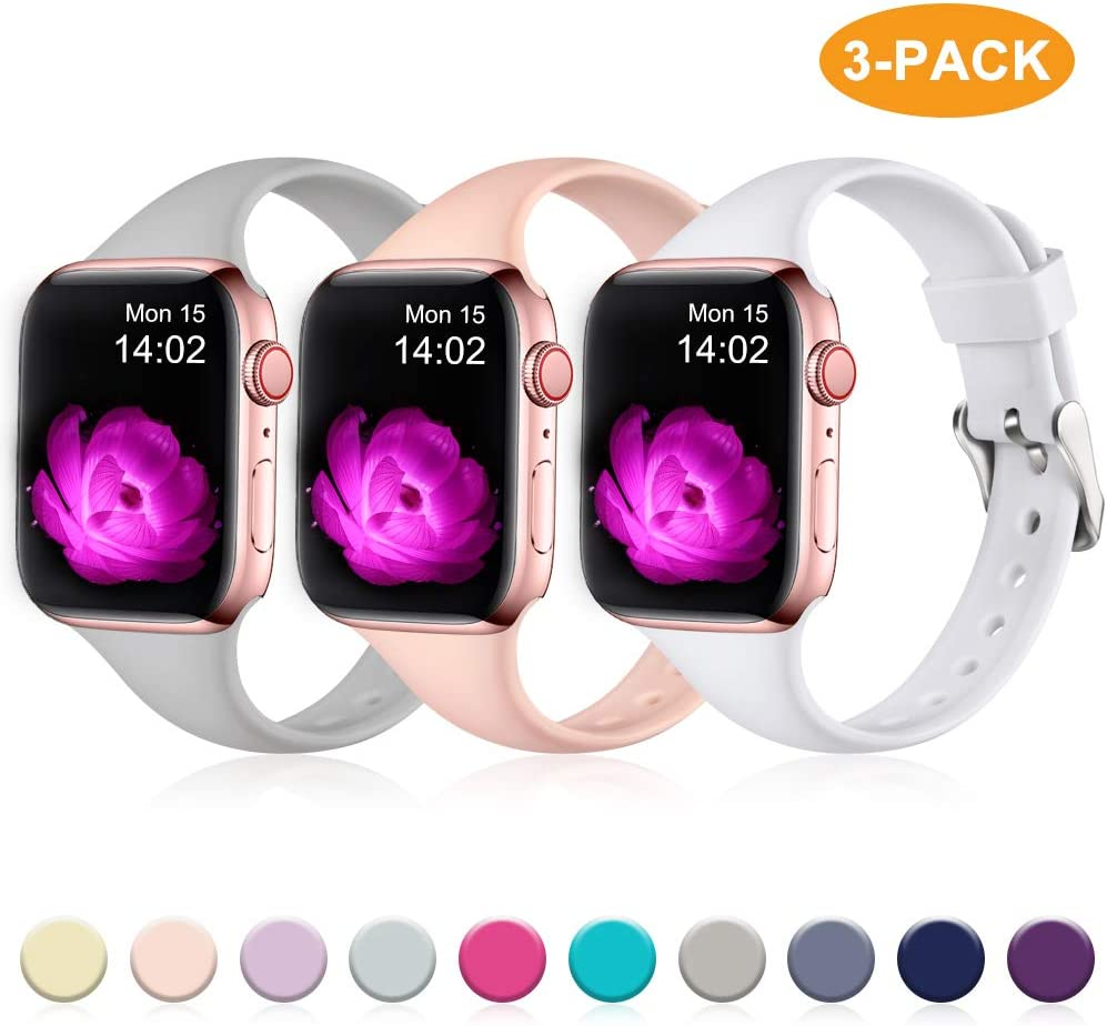 GEAK Slim Band Compatible with iWatch Bands 42mm 44mm for Women Men,Narrow Soft Silicone Slim Thin Sport Wristband for Apple Watch Band Series 5 4 3 2 1,42mm/44mm M/L Gray/Pink/White