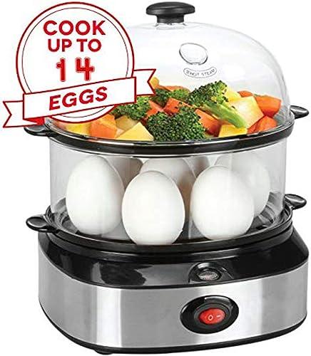 Egg Cooker,PowCube 14 Eggs Capacity Hard Boiled Egg Steamer Egg Boiler with Two Layers