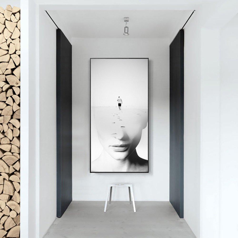 壁画北欧玄関装飾絵画モダンミニマリスト廊下絵画垂直フレーム絵画ホテルリビングルーム (Color : Black, Size : 50*100CM-Journey) B07D6K34WQ 50*100CM-Journey|Black Black 50*100CM-Journey