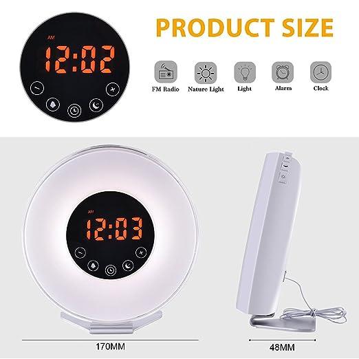 Wake Up Light,DUNQI Despertador de Luz Despertador 7 Colores 6 sonidos de la naturaleza Radio FM,Soporte de Aluminio Antideslizante,Luces-despertador ...
