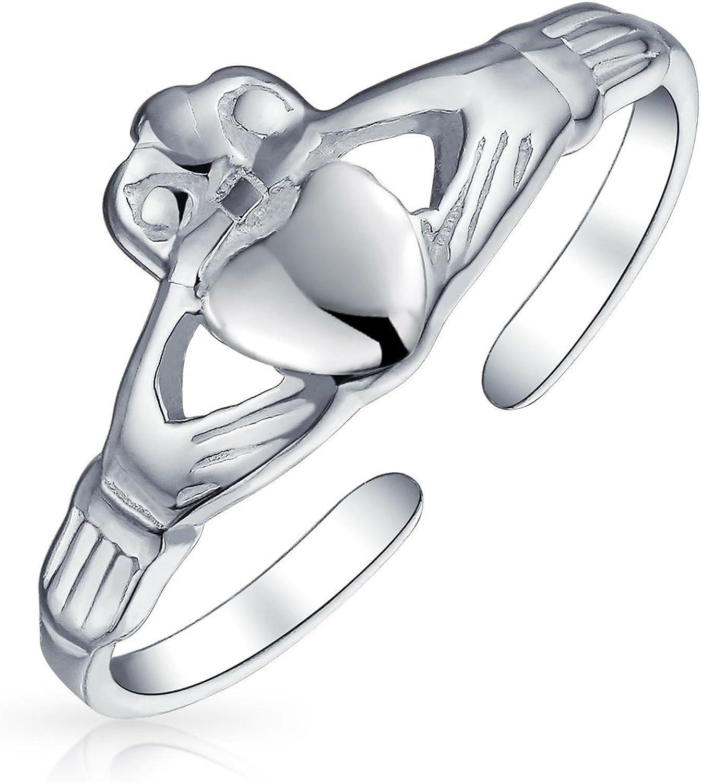 Réglable Claddagh toe ring sterling silver 925 Amitié loyauté Bijoux Cadeau