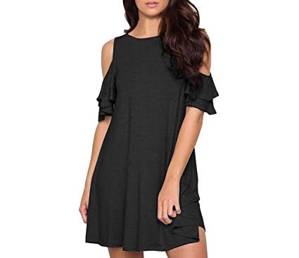 Women Fashion Casual Short Sleeve Dress Ruffles Cold Shoulder Loose Party Mini Dress Vestidos,XL