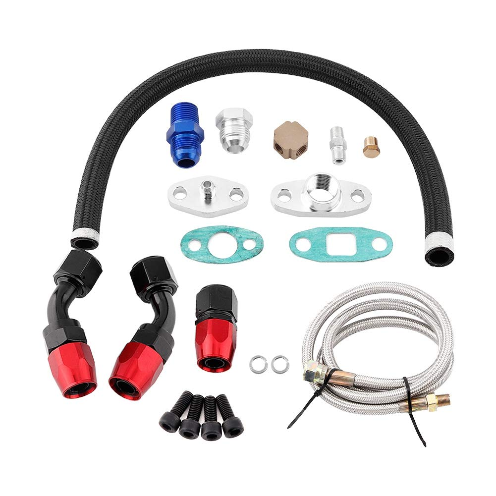 Turbo Oil Line Fitting Turbo Oil Feed Return Line AN10 Adapter Flange Kit Fit for T3 T4 GT35 T70 T66 Turbo