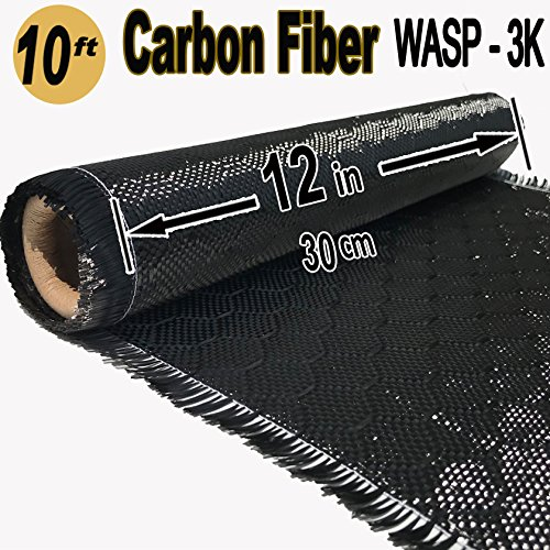 12 in x 10 FT - WASP - Carbon Fiber Fabric - Wasp Weave-3K - 220g-Black