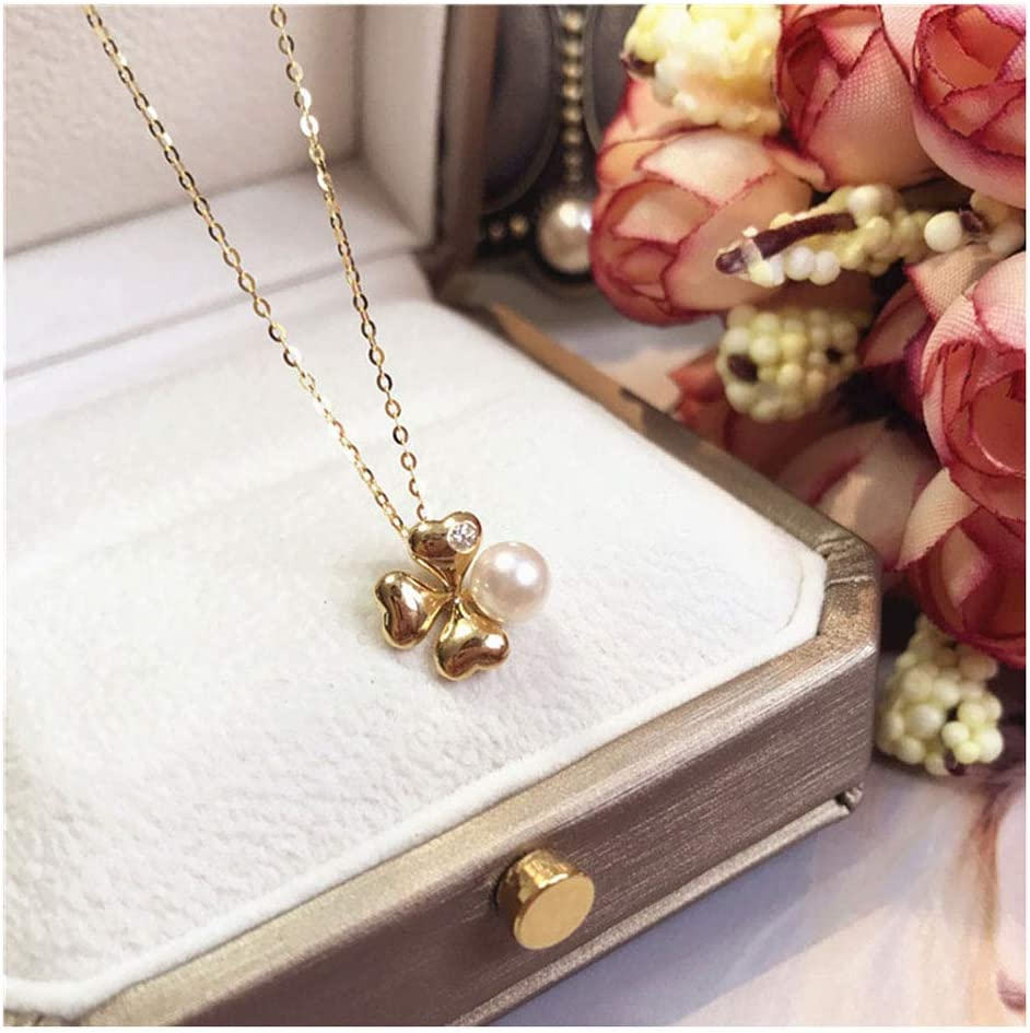 Collar Oro De 18 Quilates Perla Natural Colgante Collar Elegante 5-5.5MM Blanco Perla Cultivada Akoya Joyería De Moda