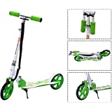 Goplus Folding Kick Scooter for Teen Deluxe Aluminum 2 Big PU Wheels Glider Adjustable Height w/Kickstand for Kids, 220lbs Capacity