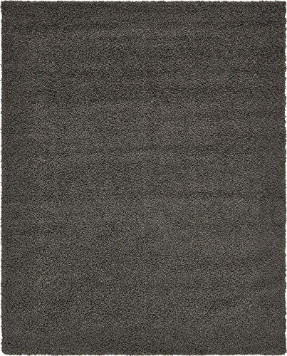 Unique Loom Solo Solid Shag Collection Modern Plush Graphite Gray Area Rug (8' 0 x 10' 0)