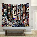 wall26 - Illustration of a Street in New York City - Fabric Wall Tapestry Home Decor - 68x80 inches