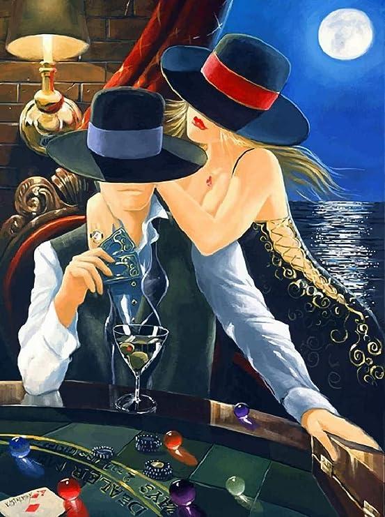 WZZPSD Pintura por Números Mujer Y Hombre Jugando Al Poker Arte Estilo De Decoración del Hogar De Regalo Moderno Único De Bricolaje: Amazon.es: Juguetes y juegos