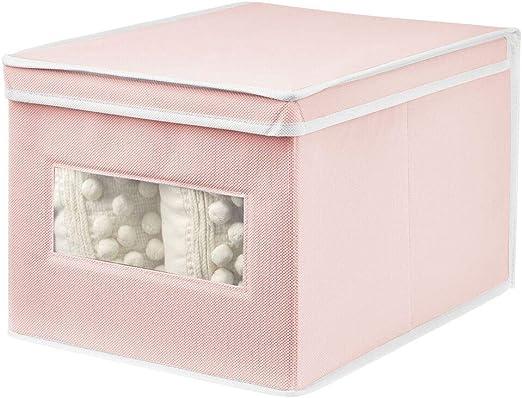 mDesign Caja de Tela – Práctico Organizador de armarios con Tapa para Dormitorio, salón o baño – Caja de almacenaje apilable de Fibra sintética Transpirable – Rosa/Blanco: Amazon.es: Hogar