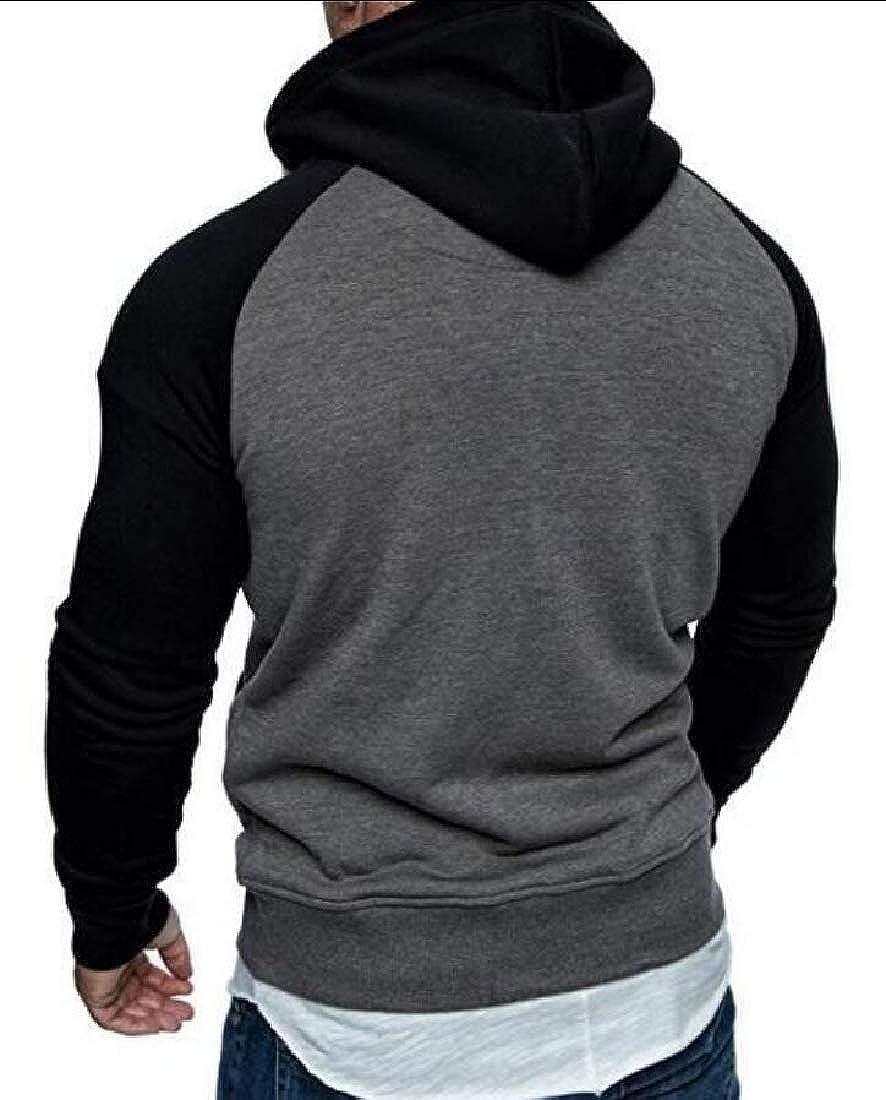 GAGA Mens Long Sleeve Patchwork Hoodie Outwear Slim Casual Color Block Sweatshirt