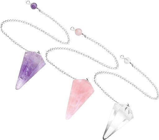 Crystaltears Pendule Radiesthesie Divinatoire En Quartz Cristal Energie Pierre 6 Facettes Bracelet Amazon Fr Cuisine Maison