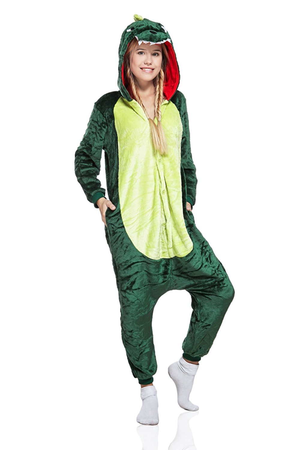 Nothing But Love Adult Dinosaur Onsie Animal Pajamas Dragon Kigurumi Onesie Cosplay Soft Fleece Pjs (Small, Green/Lime)