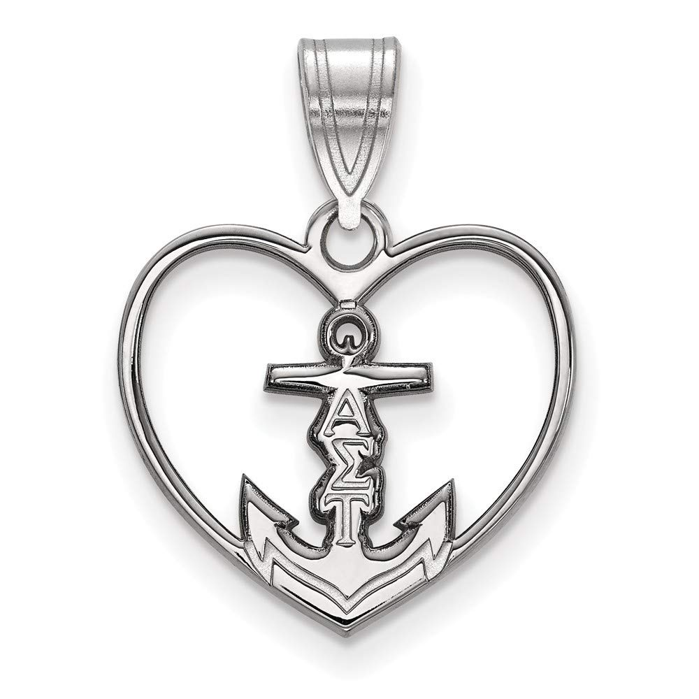 Roy Rose Jewelry Sterling Silver LogoArt Alpha Sigma Tau Heart Pendant