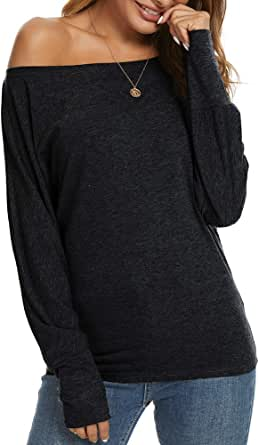 Ranee Women's Off the Shoulder Short/Long Sleeve Casual T Shirt Blouse Sexy Tunic Tops (S-2XL)