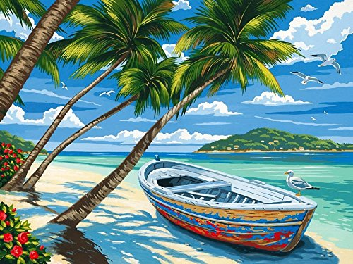 [Wooden Framed] Diy Oil Painting Paint By Number Kits for kids Painting cartoon Value Gift -Tropical Beach 16x20 Inch