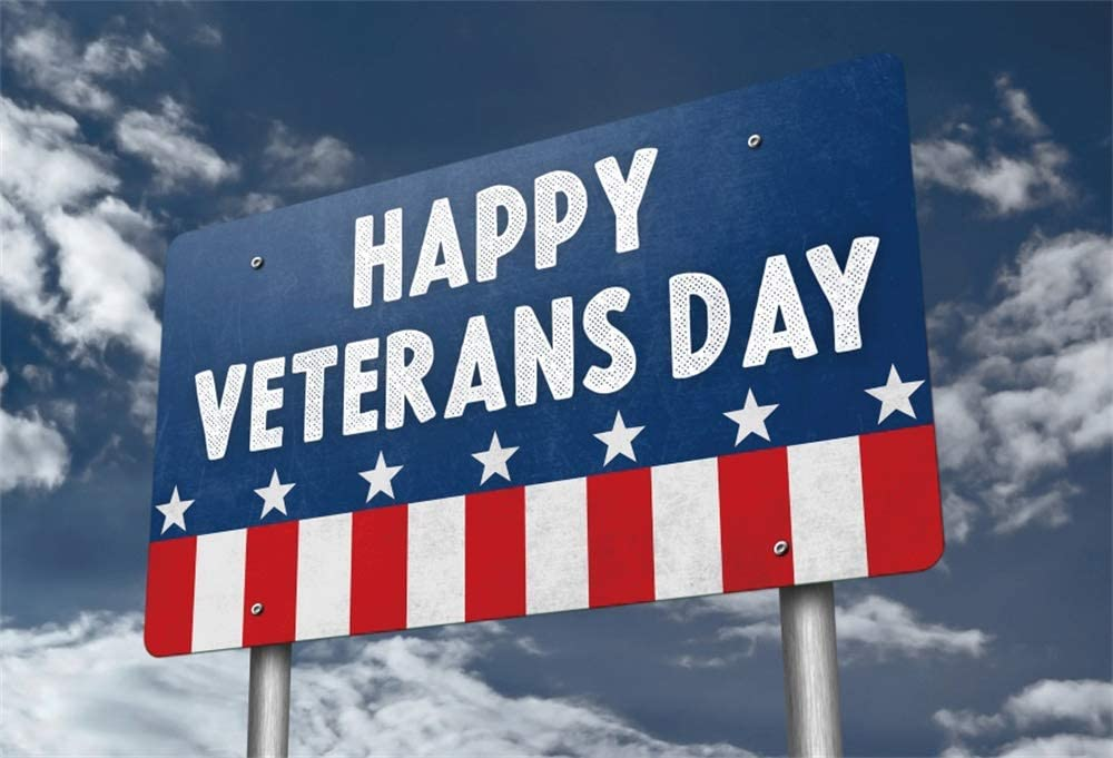 AOFOTO 5x3ft Veterans Day Flag Sign Backdrop Vinyl Memorial Day American National Holiday Celebration Wallpaper Man Boy Soldier Portrait Background for Photography Photo Shoot Studio Props Poster