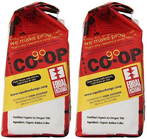 Equal Exchange QLtPuw Organic Coffee, Breakfast Blend, Ground, 12 Ounce Bag (Pack of 2)