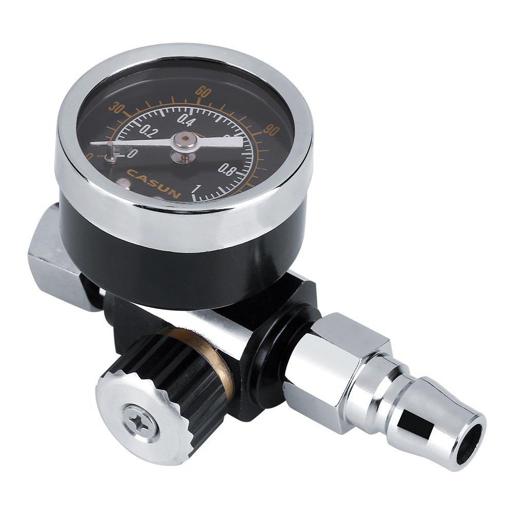 Zerodis BSP Spray Gun 1/4 Inch Air Pressure Regulator Gauge Control Tool