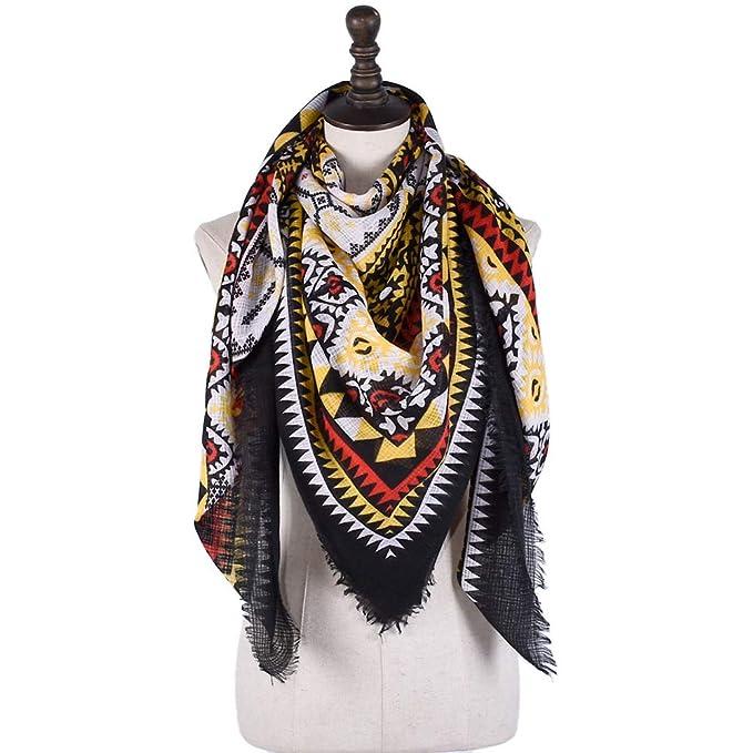 Ruiyue Mantón de lino del algodón de la tela escocesa de Bohemia del estilo étnico bufanda