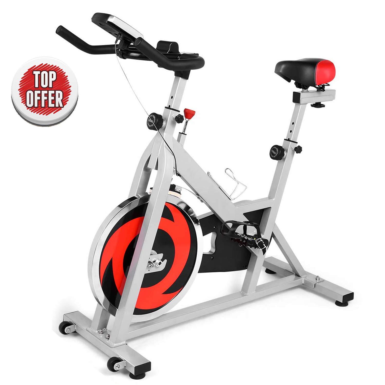 ANCHEER 屋内サイクリング自転車ステーショナリー ベルトドライブ エクササイズバイク 快適なシートクッション付き ワークアウトバイク 磁気抵抗とLCDモニター付き ホームエクササイズ用