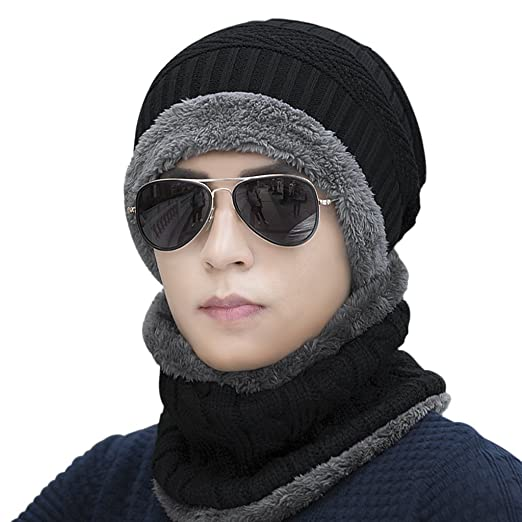 4e0734b82b0 Mens Winter Warm Knitted Hats Windproof Fleece Lined Neck Ear Warmer Scarf  Face Mask Cover Tuque