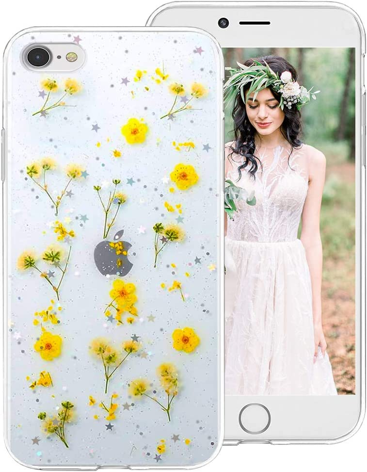iPhone SE 2020 Case,iPhone 8 Case,iPhone 7 Case for Girls Women, Clear Glitter Floral Flower Cute Design Protective Phone Case Cover with Dry Pressed Real Wildflowers for Apple iPhone SE2/8/7,Yellow