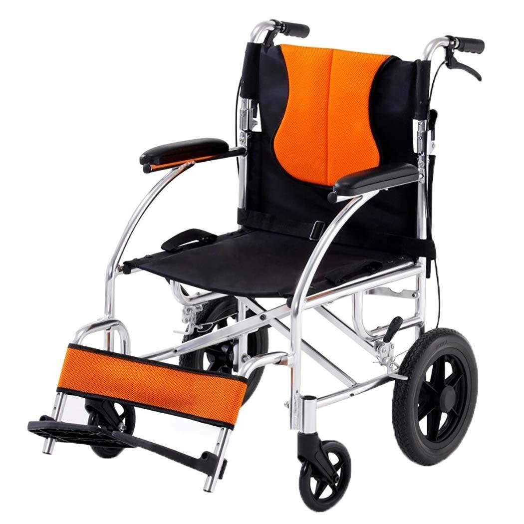 経典 HSBAIS dark 医療用マニュアル輸送車いす軽量折りたたみ B07LF6S7HS、丈夫なアルミニウム合金製の脚が浮かぶ,dark orange HSBAIS_17