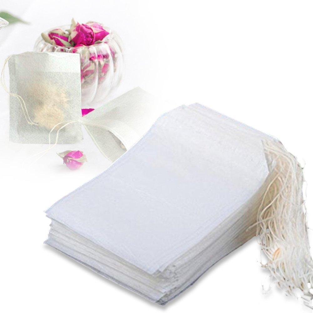 100–400pezzi Magik usa e getta filtro vuoto bustine Herb Loose Tea Bag string Seal filtro bianco 7x 9cm/7,1x 8,9cm (tessuto non tessuto) 200 string tea bag