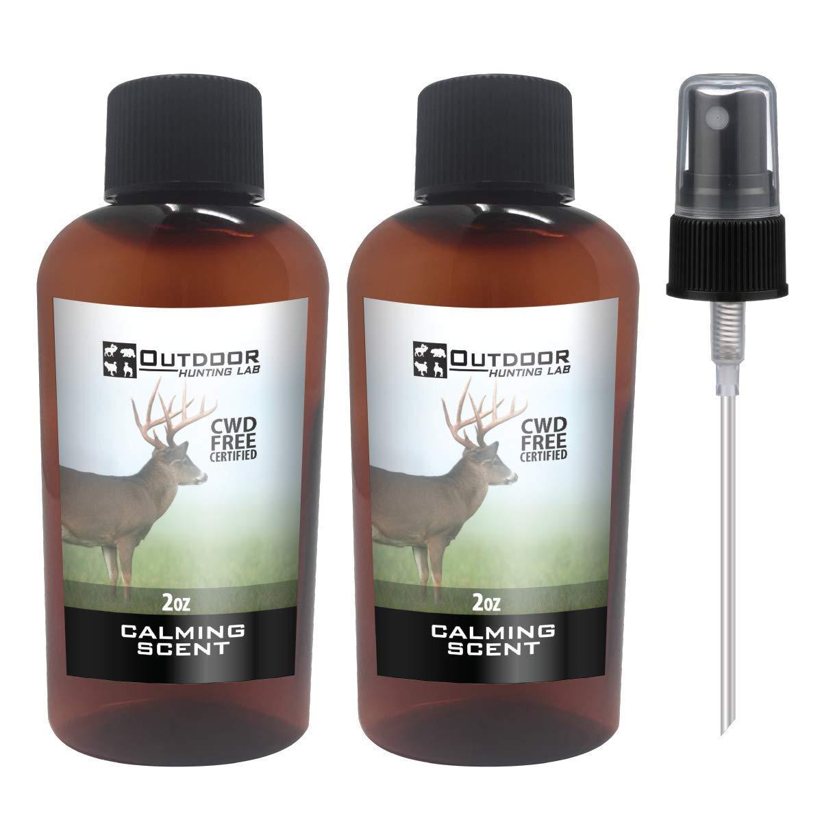 Outdoor Hunting Labs Calm Deer Attractant Scent - 100% Natural Liquid Scent Lure - Deer Urine Buck Attractants for Hunting (2 Bottle) by Outdoor Hunting Lab