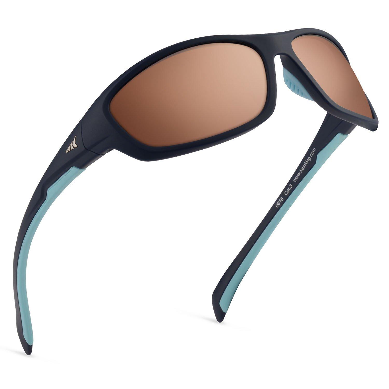 Kastking Hiwassee Polarized Sport Sunglasses, Matte Midnight Blue Frame, Copper Base Steel Mirror by KastKing