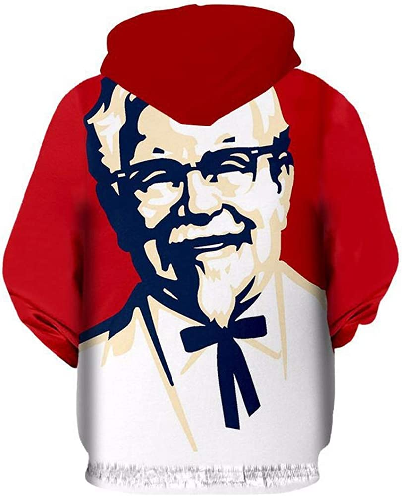 ZXFD058 Spring and Autumn 2019 New 3D Printed KFC Grandpa Sports Leisure Clothing Zipper Hat Guard Top