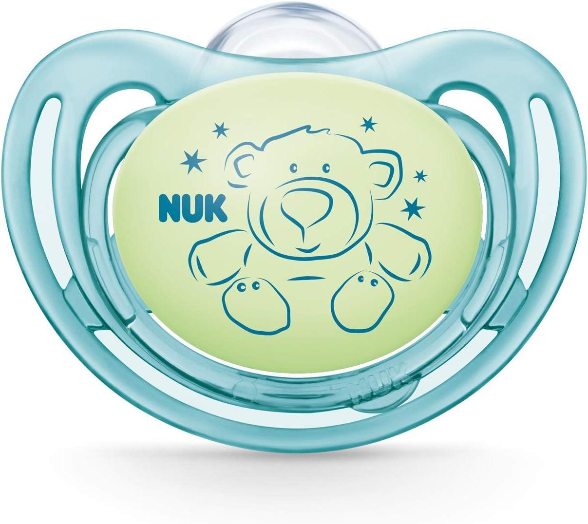 NUK 10175237 Freestyle Night Lot de 2 t/étines en silicone Vert et bleu 0-6 mois