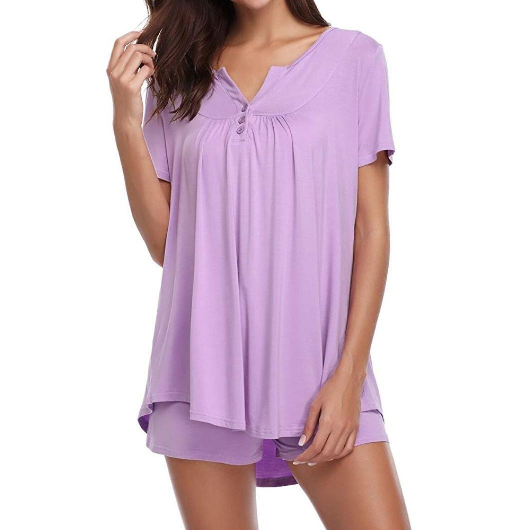 Owill Womens Button Short Sleeve Sleepwear Set Pajama Sets Bamboo Tank and Shorts Set (2XL, Purple)